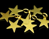 KG- 542 thai karen hil tribes silver 6 gold vermeil mini die cut star shape charm 10.0 mm.