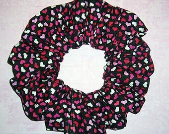Heart Themed Hair Scrunchie, Hair Tie, Fabric Ponytail Holder, Valentine's Day Confetti