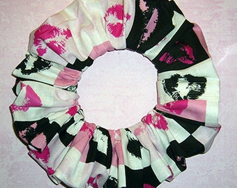 Holiday Hair Scrunchie, Valentines Day Hair Tie, Lots of Kisses