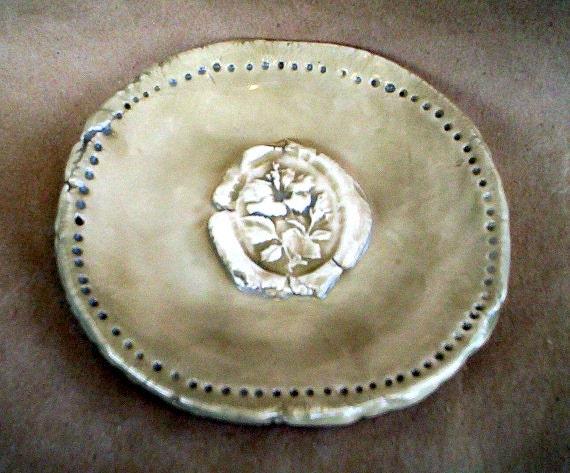 Ceramic  Sage Hibiscus Trinket Dish