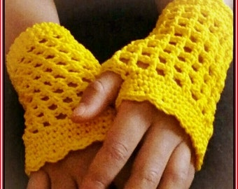 Revised PDF PATTERN Mother and Daughter Sunshine Girl Crochet Fingerless Texting Gloves CHILDs Preteen and Woman Adult Sizes included