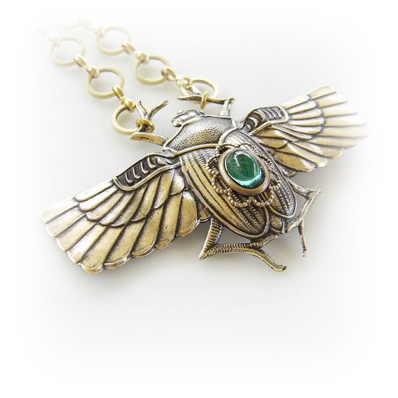 Scarab Beetle Necklace - Renewal, Revival - Emerald Green Glass Pendant