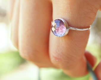 alexandrite - 8mm faceted alexandrite ring. stacking gemstone ring. color changing