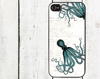 Turquoise Octopus Phone Case for iPhone 4 4s 5 5s 5c SE 6 6s 7  6 6s 7 Plus Galaxy s4 s5 s6 s7 Edge