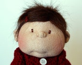 14 inch soft doll carmel color brown hair brown eyes red sweater red and white dress