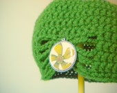 Cilantro Green Flapper Style Cloche Hat - Design your own hat with colors and brooches - Winter Hats for Women and Baby Girls