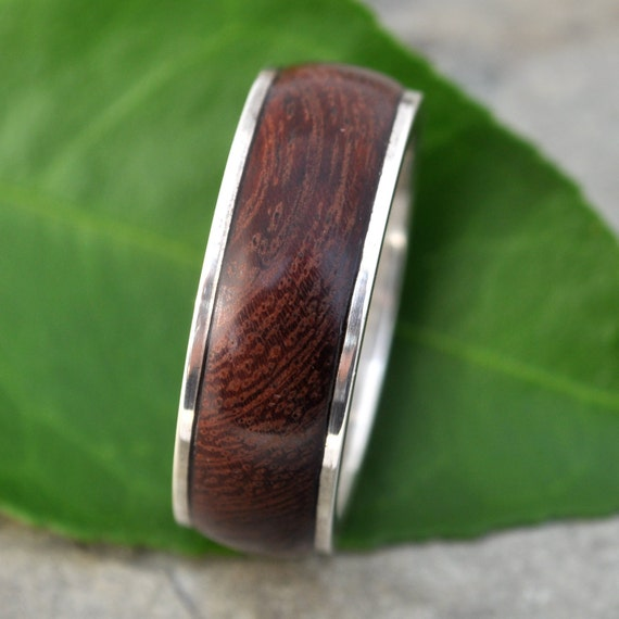 Tierra Guapinol Wood Ring - handmade wood wedding band with recycled sterling, mens wood ring, wood wedding ring
