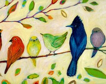 Rainbow Birds - A Flock of Many Colors - Fine Art Print by Jenlo