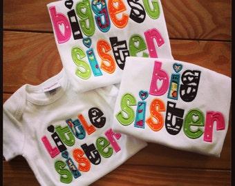 Set of 2 Appliqued Sister Shirts Little Sister Big Sister Biggest Sister
