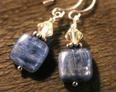 Kyanite earrings genuine bright blue square stones, clear swarovski bicone crystals and sterling silver earrings