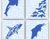 Nautical art, Nursery prints, nature inspired  by dolphin, whale,  nursery decor, baby shower gift, beach cottage, playroom decor, set of 4