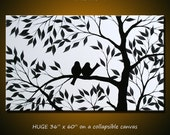 """Original Extra Large Wall Art Modern Birds Painting ... 36"""" x 60"""" ... black and white ... free US shipping, I'm In Love With You"""