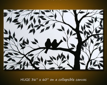 "Original Extra Large Wall Art Modern Birds Painting ... 36"" x 60"" ... black and white ... free US shipping, I'm In Love With You"