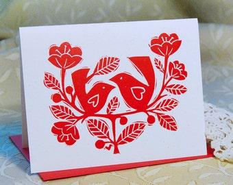Love Birds Letterpress Valentine Card