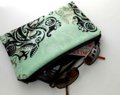 Mint Cosmetic Bag  Large ECO Friendly Padded Zipper Pouch Sunglasses Gadget Case LIMITED Mint Fleur