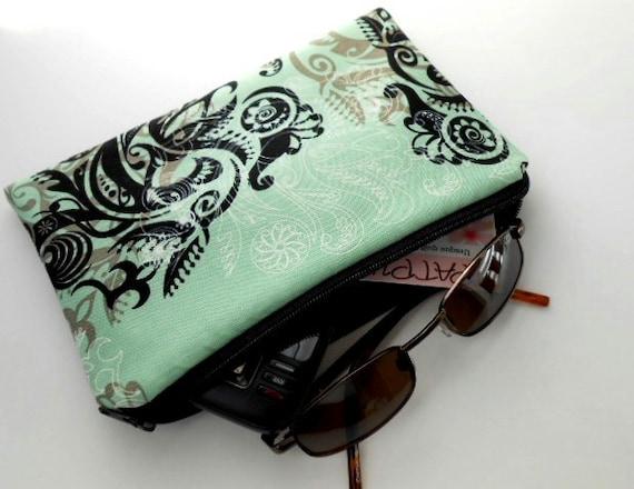 Mint Cosmetic Bag  Large ECO Friendly Padded Zipper Pouch Sunglasses Gadget Case LIMITED Mint Fleur