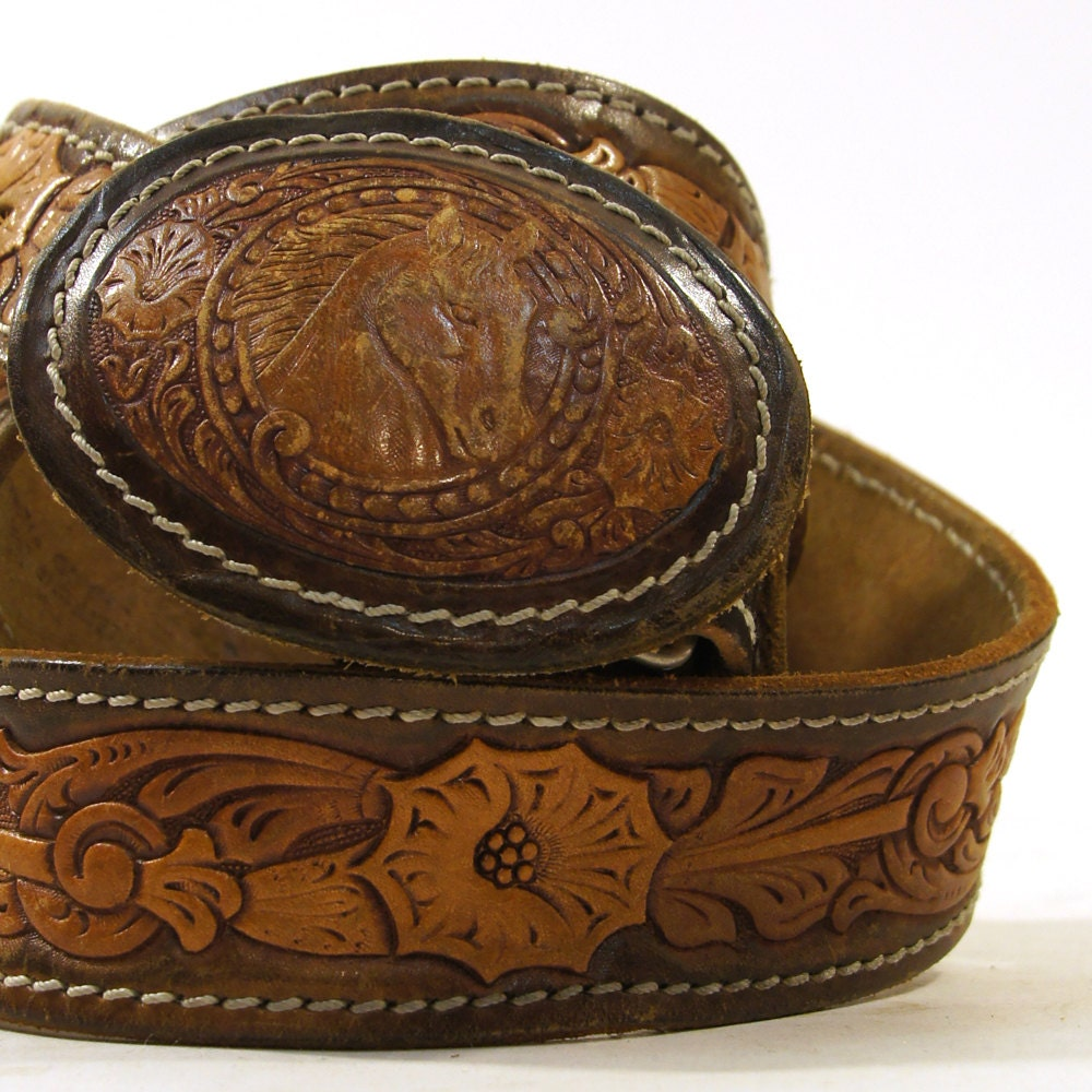 60s tooled leather belt with tooled leather by