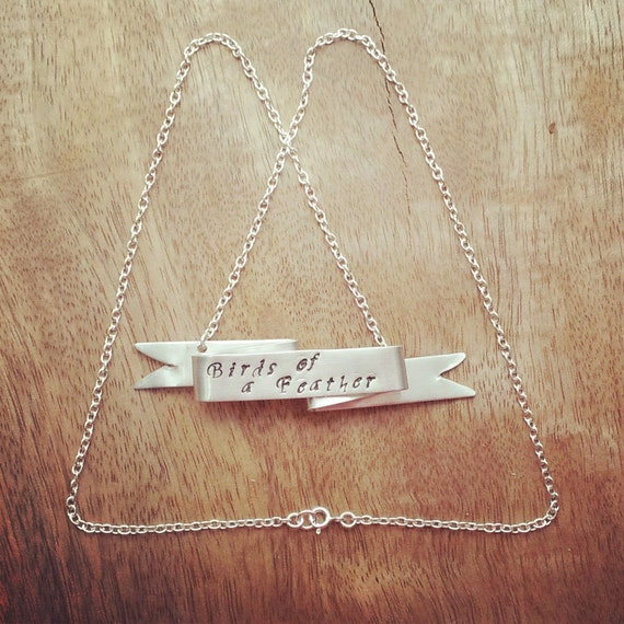 Personalized Jewelry Necklace, Ribbon Banner Necklace, Custom Hand Stamped, Silver