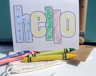 "Coloring ""Hello"" Notecards and envelopes - BULK set of 20 (no crayons or fabric bag)"