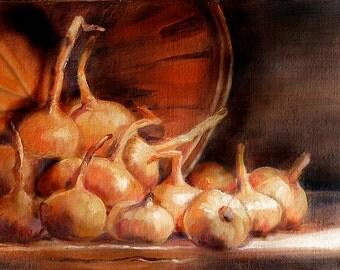Original Oil Painting Onions Still Life