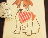 Phizzo the Jack Russell Terrier Valentine's Day Calendar Note Card with Envelope