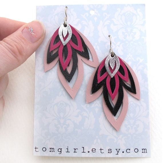 Pink and Black Hand Cut Leather Earrings