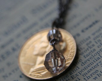 Golden Necklace with Vintage Coin and Swarovski Crystals