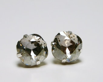 Metallic Silver Crystal Stud Earrings Classic Sparkling Gray Shade Solitaire Swarovski 10mm Sterling Post - Women's Jewelry Clear Sparkle