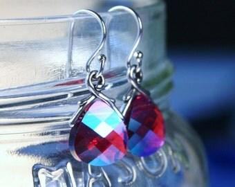 Fuchsia Red Crystal Earrings Swarovski Briolette Ruby Crimson Magenta Glacier True Blood Sterling Silver July Birthstone Petite Dangle Drop