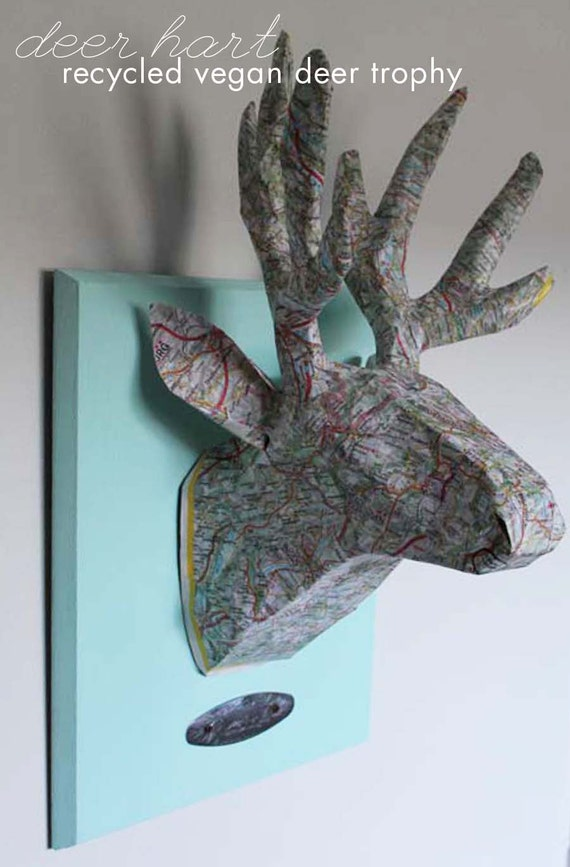 Vegan Taxidermy Deer Hart Paper Mache Deer Head Made With