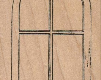 Rubber stamp Arched Window 2 1/4 x 3 1/4 wood Mounted  scrapbooking supplies number 1164