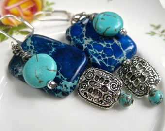 Turquoise earrings with filigree drop  pierced   blue African Turquoise