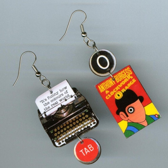 Book Cover earrings - typewriter key jewelry - A Clockwork Orange quote - reader's literary book club gift - banned censored challenged