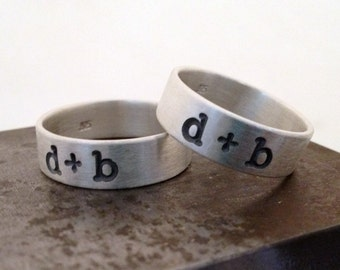 Lowercase Initial Band - Brushed Matte Ring for Men or Women - Made in Sustainable Silver