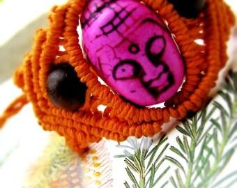 Gentle Buddha Head Macrame Hemp Bracelet