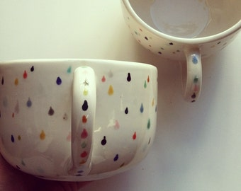 LAST ONE; SINGLE - raindrop latte mug - hand painted with lovely colorful drops