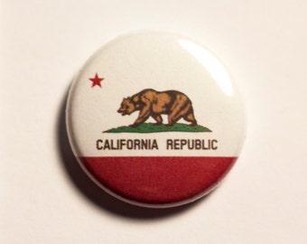 "1"" California flag button, state, pin, badge, pinback"