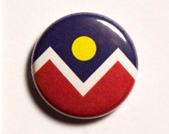"""1"""" Denver CO flag button - Colorado, city, pin, badge, pinback"""