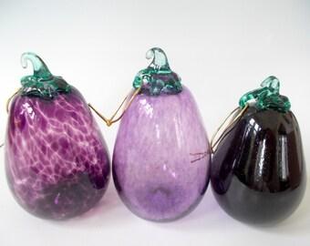 Eggplant Aubergine Trio of Hand Blown Glass Fruit Ornaments Decor by Rebecca Zhukov