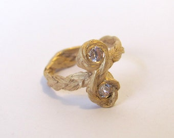 Zopfring double bow with diamonds in 18ct rosé gold