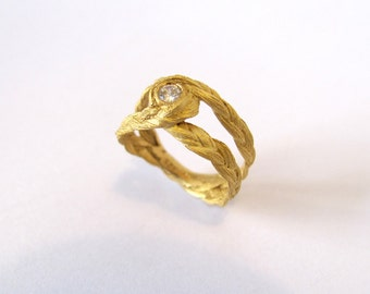 Zopf ring big loop in yellow gold with diamond