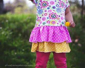 Instant Download ruffle T-shirt pattern for girls PDF sewing pattern and tutorial Size 6-12