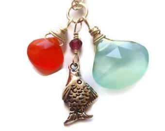 Aqua Chalcedony Orange Carnelian Sterling Silver Fish Charm Pendant Chain Necklace
