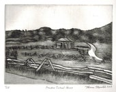 Frontier School House original hand printed copper plate etching