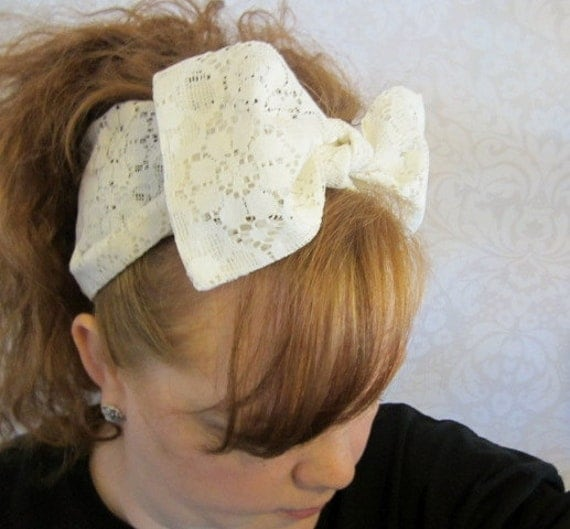 1940s Hairstyles- History of Women's Hairstyles White Lace Hair Bow Bandana Head Scarf -Retro Rockabilly $10.00 AT vintagedancer.com