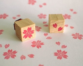 cherry blossom  - set of 2 mini stamps - 15x15mm