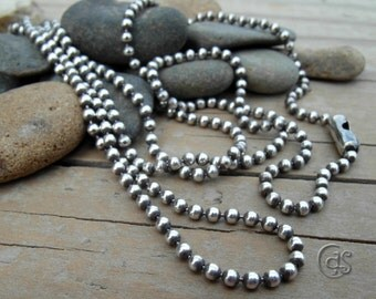Sterling Silver Necklace Bead Chain Oxidized Chain Only
