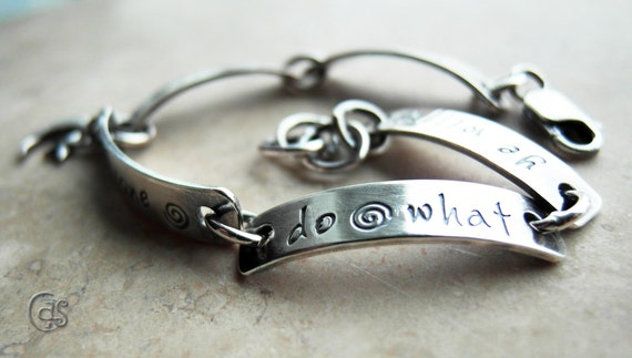Personalized Bracelet Sterling Silver Custom Hand Stamped Jewelry