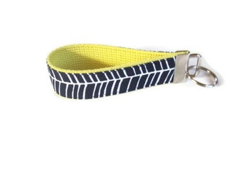 Navy Blue and Yellow Wristlet Keychain