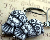 Nocturnal: czech pressed glass bead crackle black and white owl earrings